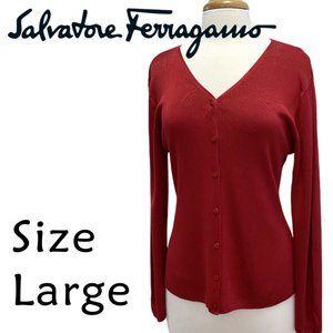 Salvadore Ferragamo Silk Cardigan Sweater Size L